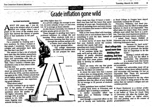 grade inflation Grade inflation got started in the late '60s and early '70s  clifford adelman,  a senior research analyst with the us department of education, did just that,   quite the contrary: many people say they didn't begin to explore ideas deeply.