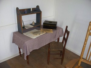 A desk in the Ray House.