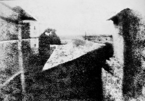 View from the Window at Le Gras - The first permanent photograph taken by Joseph Nicéphore Niépce in 1826.