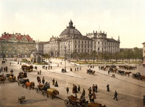 Justizpalast in Munich as shown on a 19th century postcard