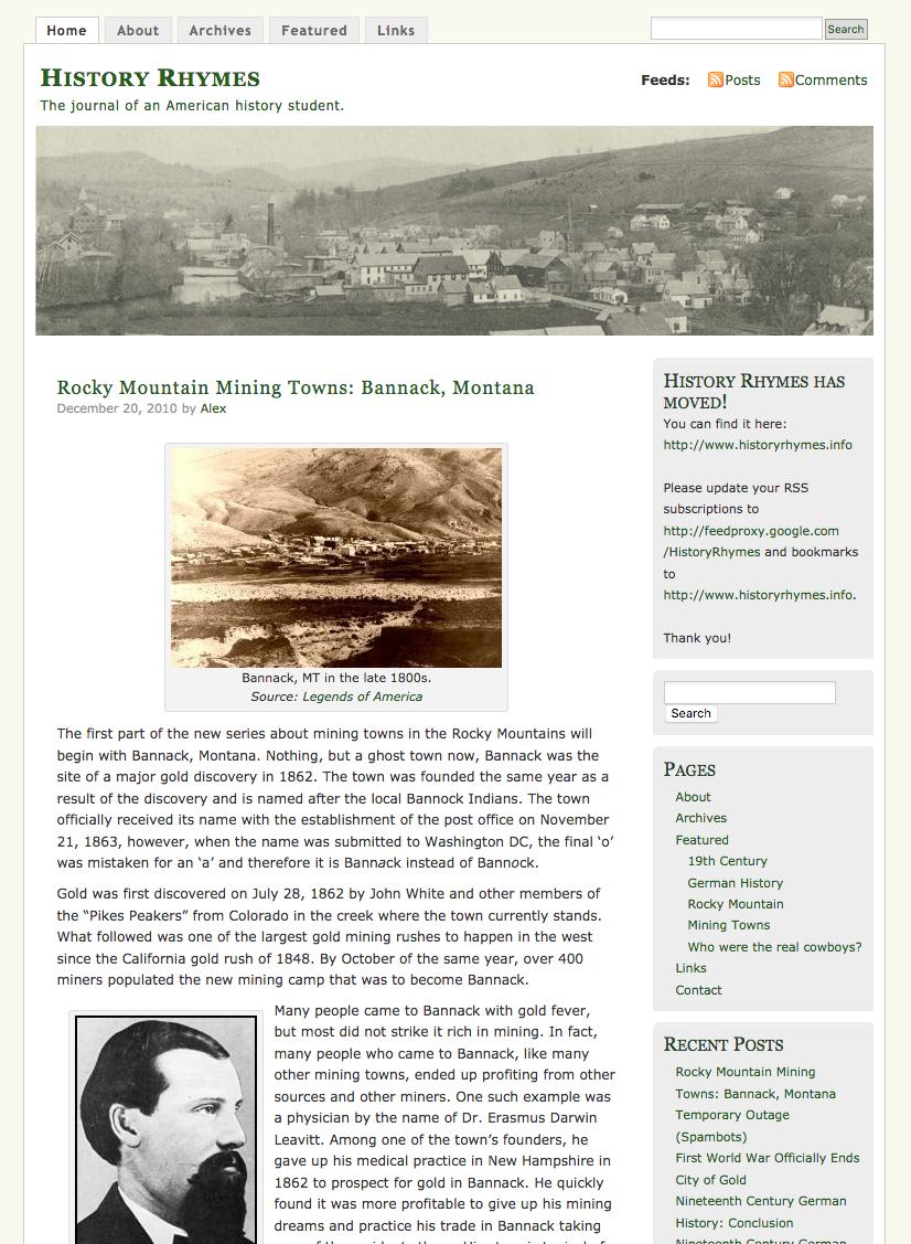 History Rhymes - Original Blog